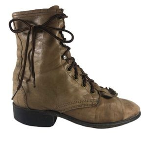 Old Leather Lace-up Boots 7.5 100% Leather